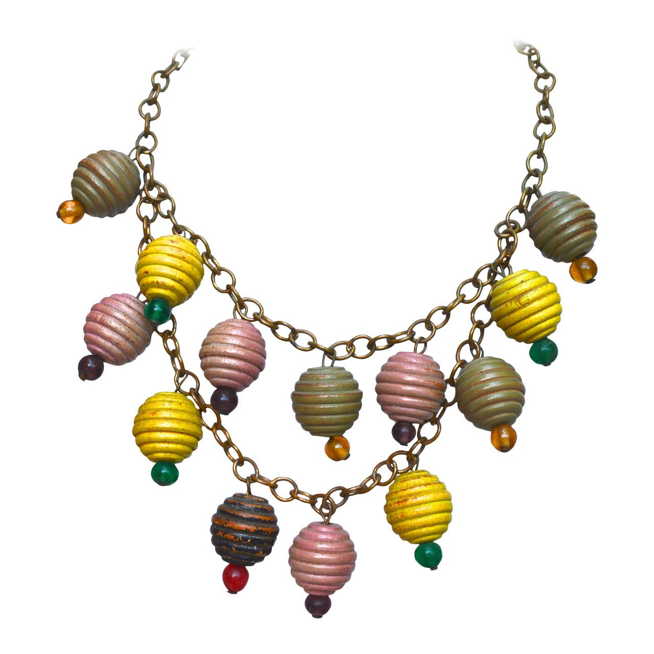 1930s Colorful Wooden Charm Necklace For Sale