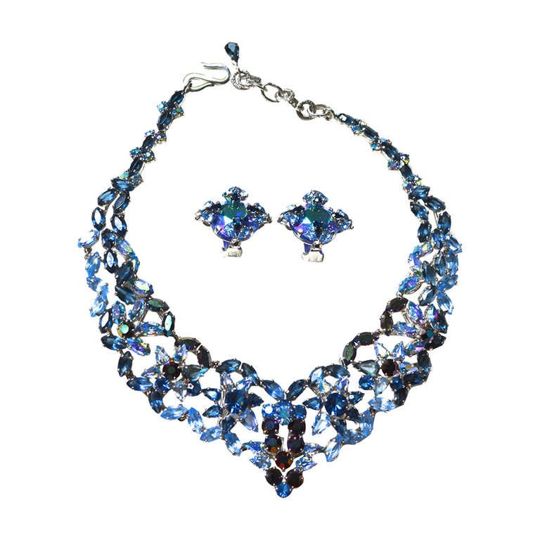 50s Christian Dior Necklace / 1958 Blue Ice Set For Sale ...
