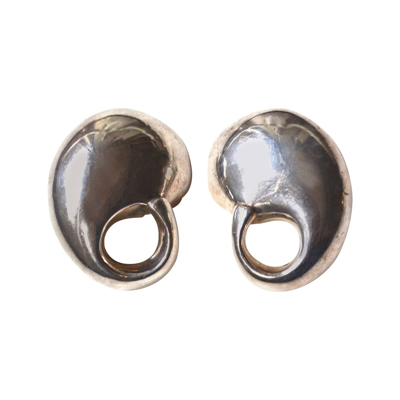 Organic Mod Sterling Earrings For Sale