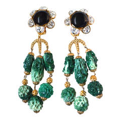 Dior Couture Green Drop Earrings