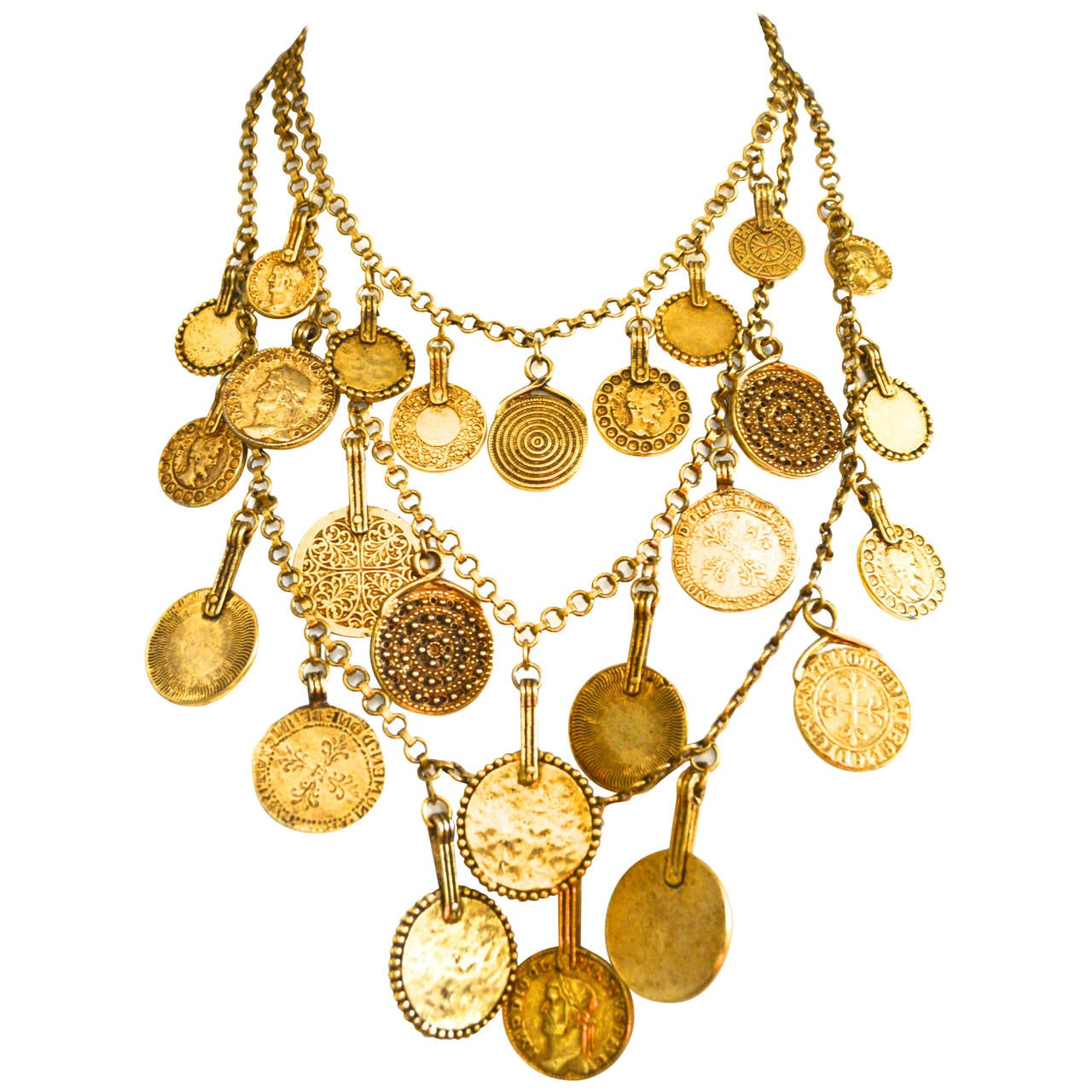 "Circa 1977 YSL ""Gypsy"" Coin Necklace 1"