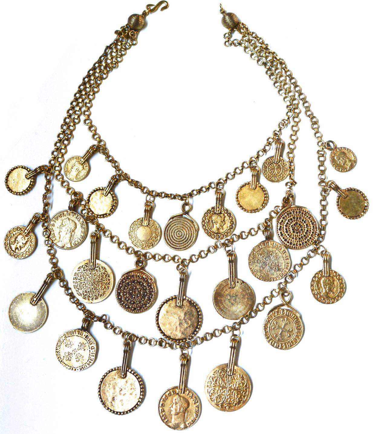 "Circa 1977 YSL ""Gypsy"" Coin Necklace 4"