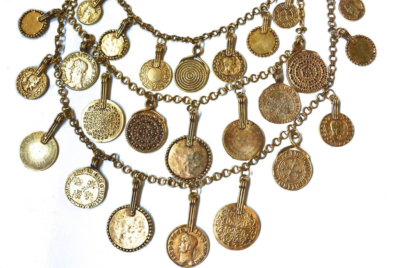 "Circa 1977 YSL ""Gypsy"" Coin Necklace 2"