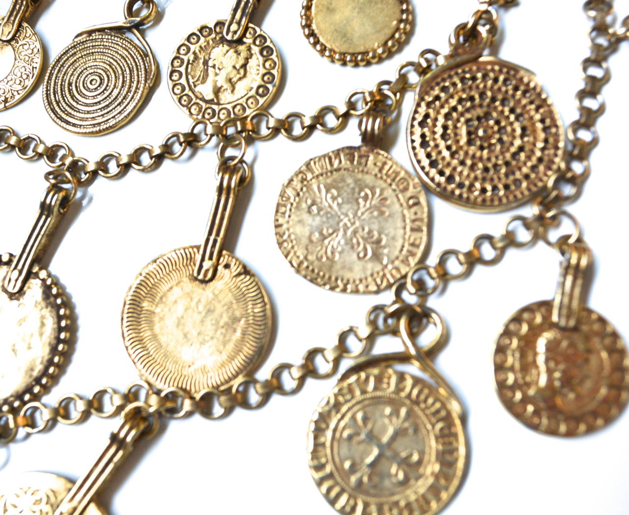 "Circa 1977 YSL ""Gypsy"" Coin Necklace 3"