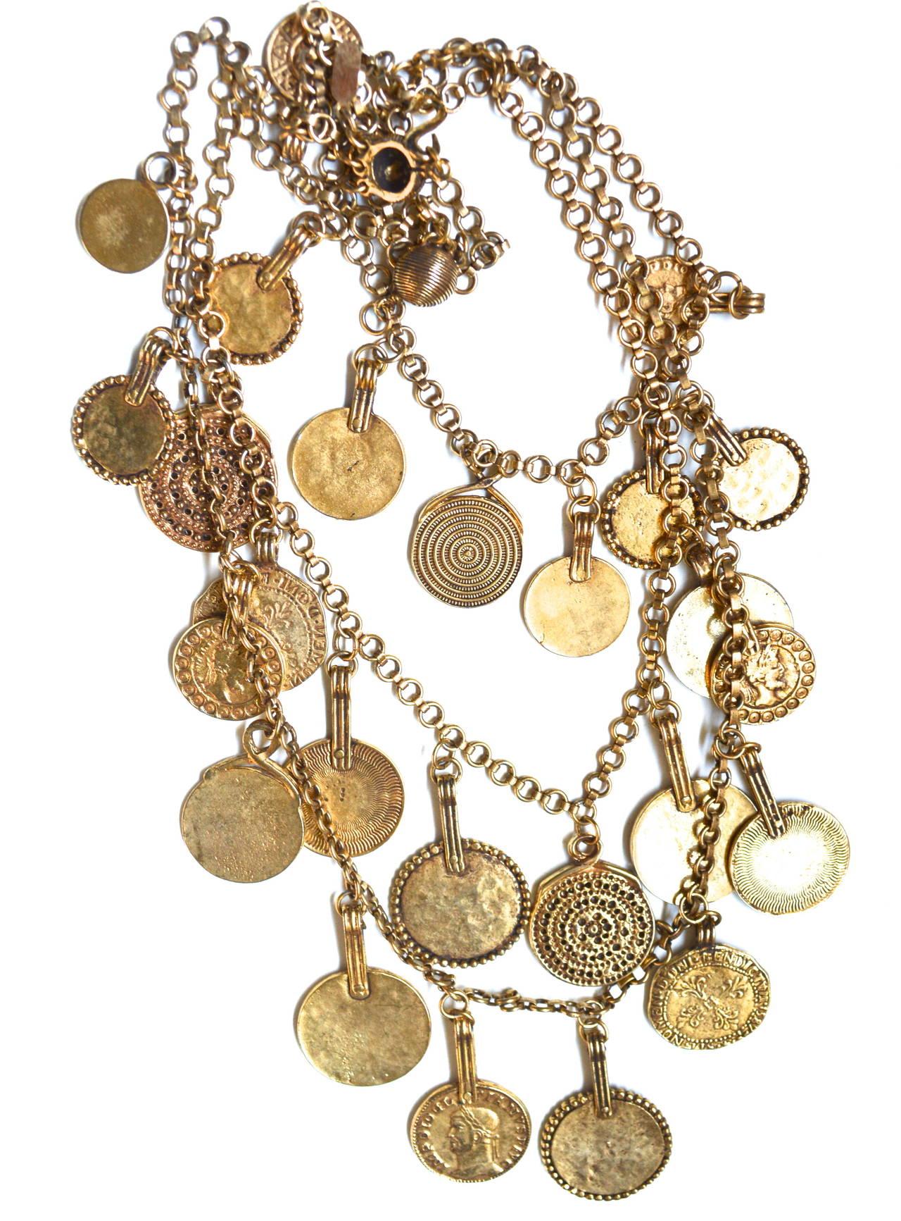 "Circa 1977 YSL ""Gypsy"" Coin Necklace 6"
