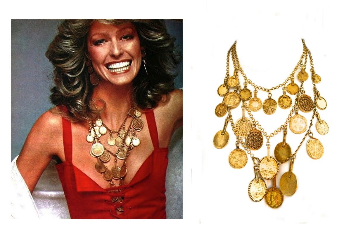 "Circa 1977 YSL ""Gypsy"" Coin Necklace 7"