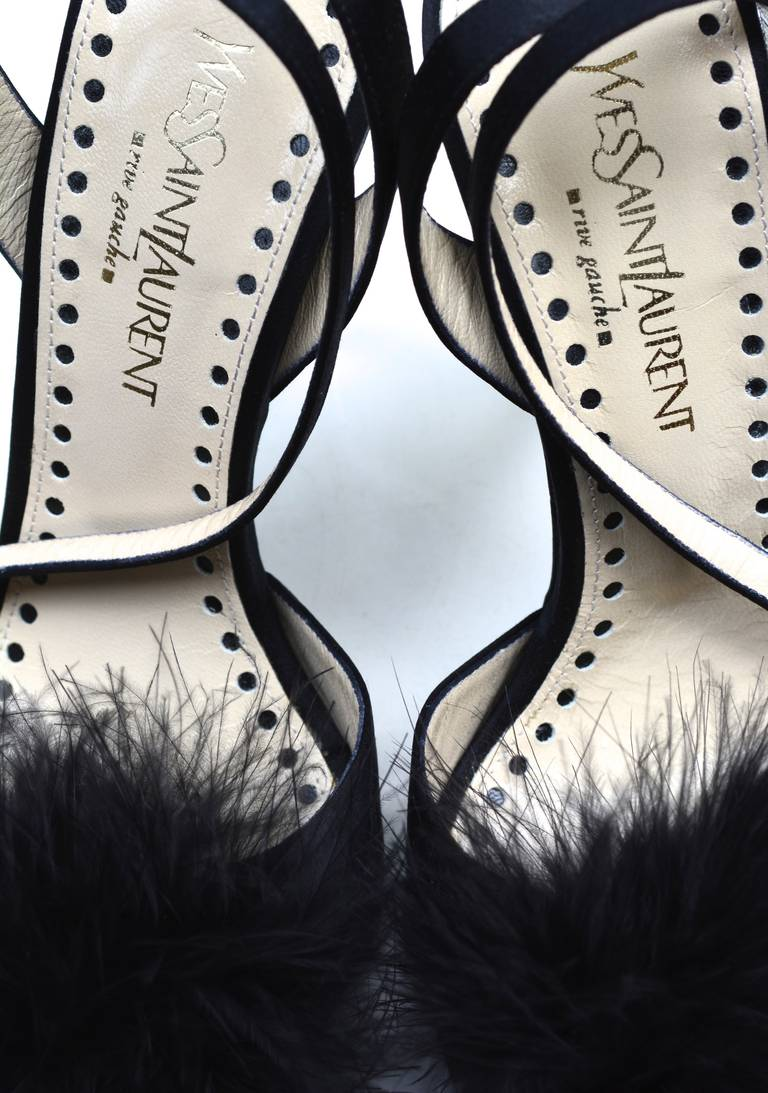 Women's YSL Rive Gauche Feather Heels For Sale