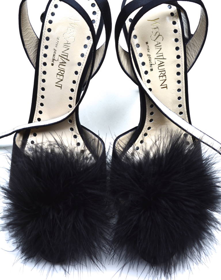 Black YSL Rive Gauche Feather Heels For Sale
