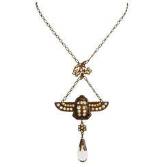 Scarab Deco Glass Necklace
