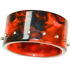 Lucite Rhinestone Studded Root Beer Cuff