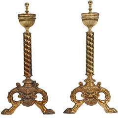 Fine Pair of English Brass Neoclassical Andirons