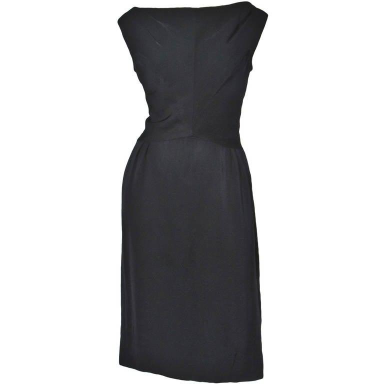 Jane Andre Vintage 1960s 60s Unique Black Silk Wiggle Dress 1