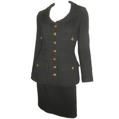Chanel black skirt  suit  w gripoix buttons Coll 96 A