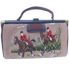 1950s Rare Needlepoint Fox Hunt Dual Sided Large Handbag