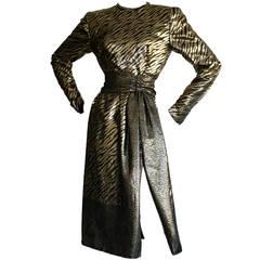Vintage Pauline Trigere Gold Lame Leopard Zebra Print Dress