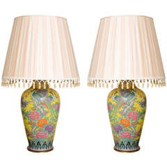 Monumental Pair of Chinese Export Porcelain Yellow Lamps