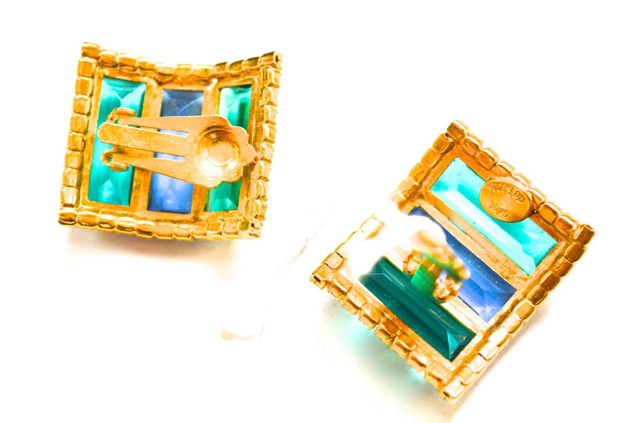 Blue and green elongated emerald cut glass surrounded by rhinestones, signed. From the William De Lillo archive of prototypes and samples. These are special pieces, truly a part of William De Lillo's history.