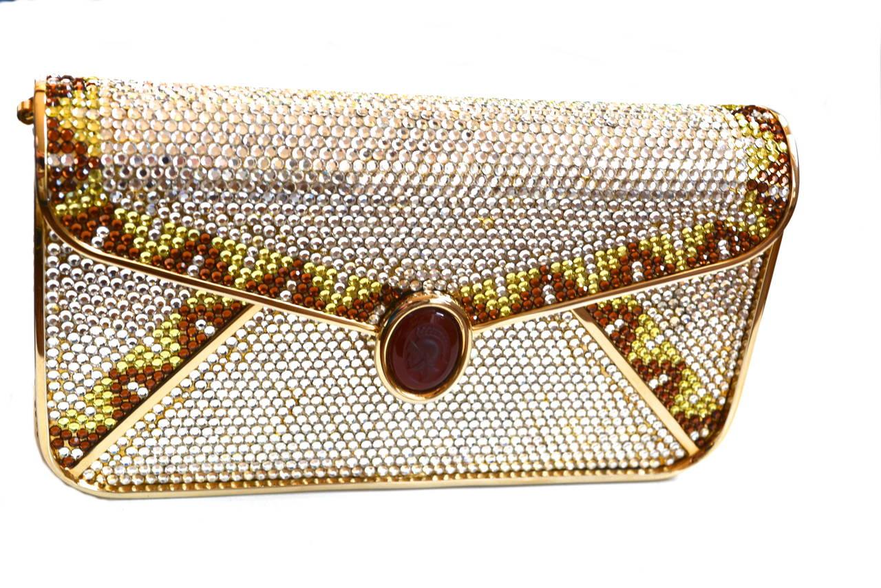 Beige Judith Leiber Crystal Intaglio Clutch For Sale