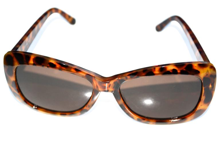 Brown Oversized Halston Tortoise Sunglasses For Sale