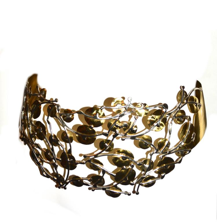1980s Brass Brutalist Belt and Cuff For Sale 2