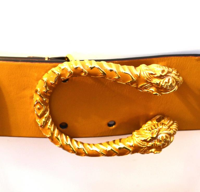 Gucci Leather Double Tiger Belt, Tom Ford Era For Sale 1