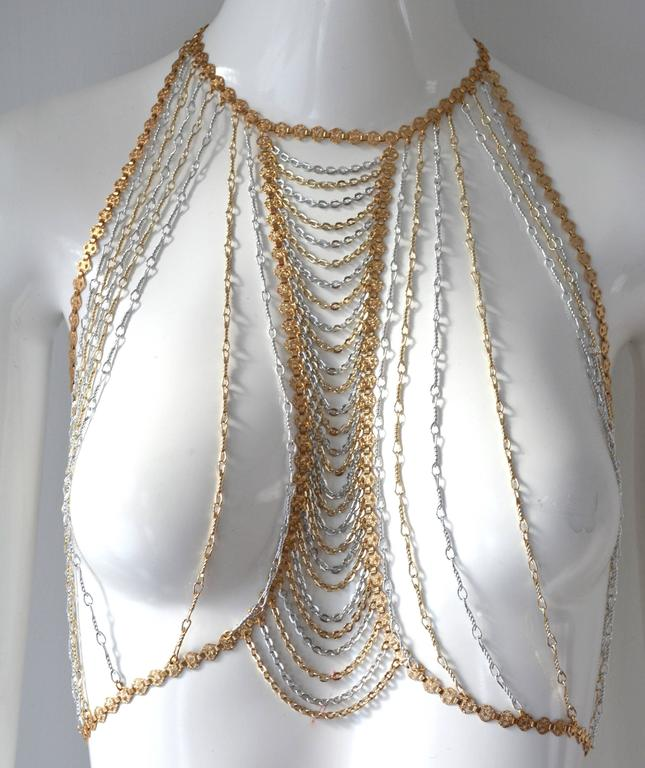 Women's or Men's Trifari Gold and Silver Body Chain For Sale