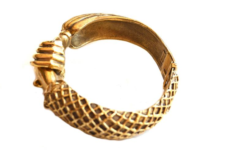 Signed 1972, Diane Love for Trifari rare Elizabethan style hand clamper bracelet.  Diane's designs for Trifari are highly sought after, read more about her in our interview on the blog. Condition is excellent with very mild signs of use. Hands