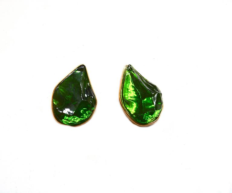 Oversized Yves Saint Laurent Green Earrings In Excellent Condition For Sale In Litchfield County, CT