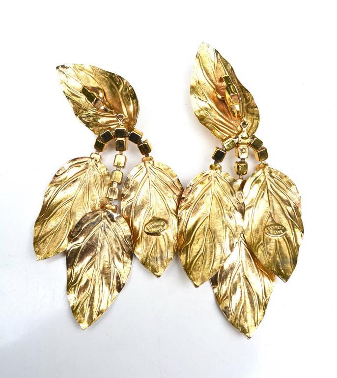 Women's 70s Kenneth Jay Lane Leaf Earrings For Sale
