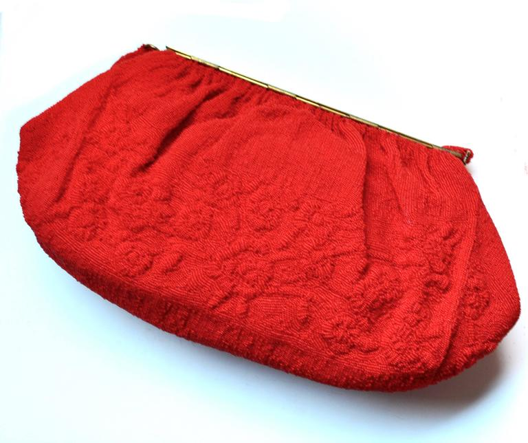 1950s Red Sagil Beaded Handbag 4