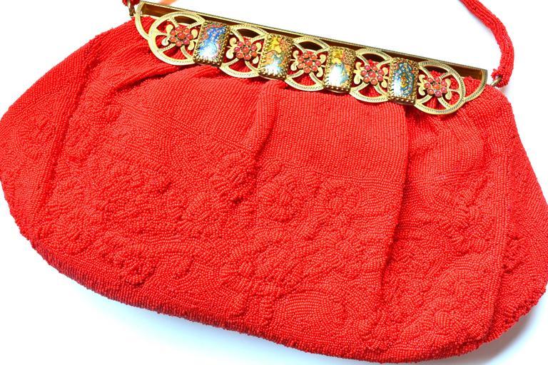 1950s Red Sagil Beaded Handbag 5