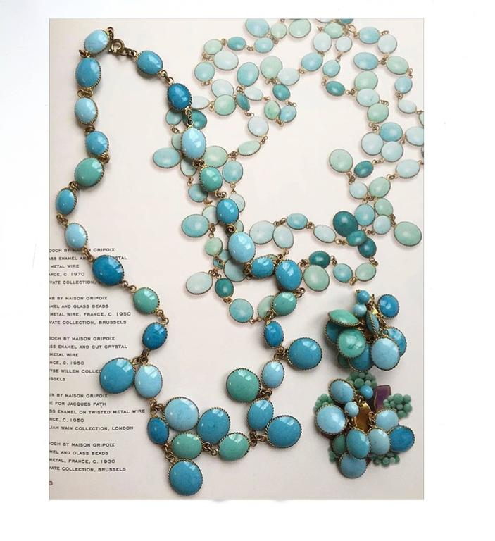Jacques Fath Couture Turquoise Gripoix Necklace and Earrings. 3