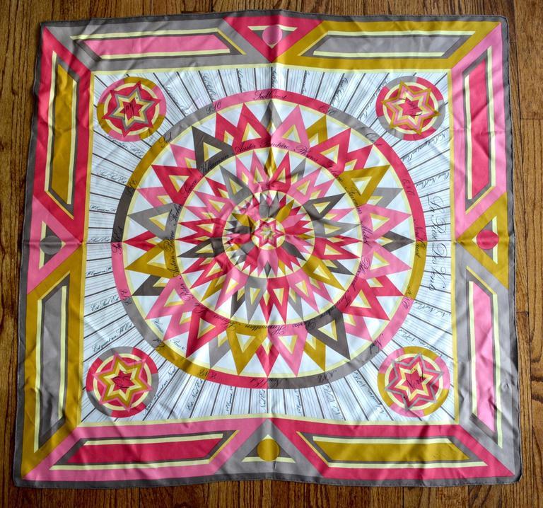 Hermes La Rose Des Vents Pink Scarf 2