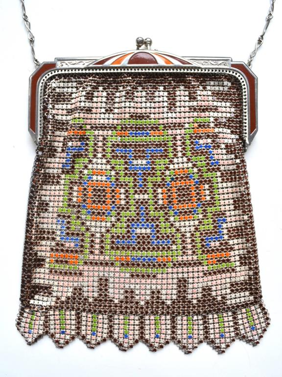Brown 1920s Whiting and Davis Colorful Mesh Bag For Sale