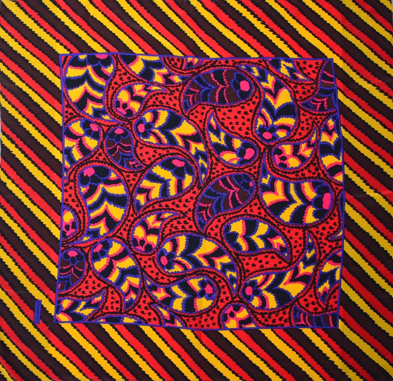 80s Givenchy Paisley Print Pop Scarf 2