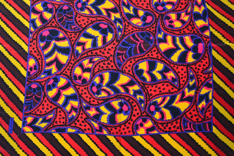 80s Givenchy Paisley Print Pop Scarf 4