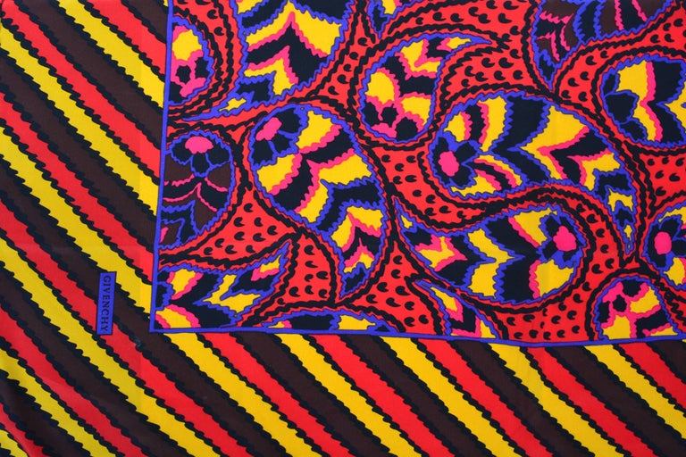 80s Givenchy Paisley Print Pop Scarf 5