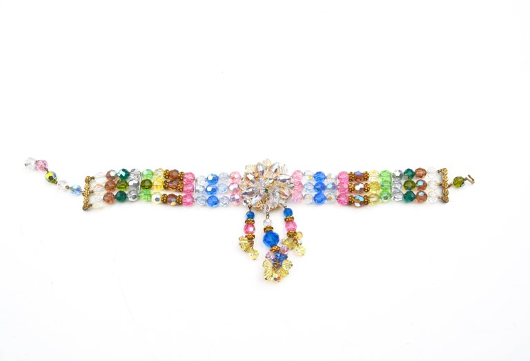 Rainbow Crystal Choker, 1950s  In Good Condition For Sale In Litchfield County, CT