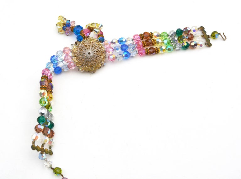 Women's Rainbow Crystal Choker, 1950s  For Sale