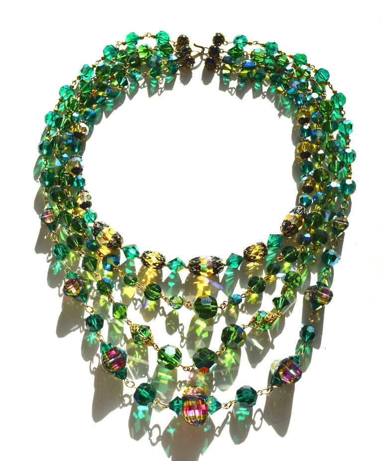 50s Watermelon green crystal necklace  In Excellent Condition For Sale In Litchfield County, CT