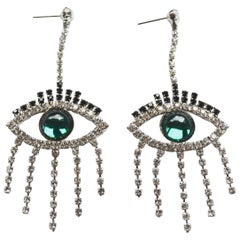 Green Good Luck Eye Earrings with Swarovski crystals