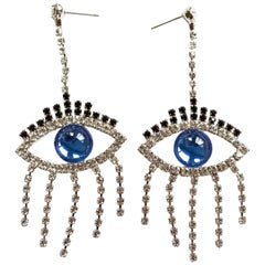 Blue Good Luck Eye Earrings / Swarovski