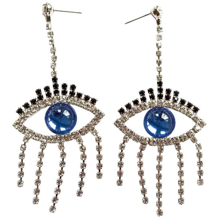 Blue Good Luck Eye Earrings / Swarovski For Sale