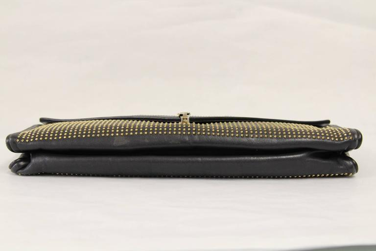 Black 1980s Roberta di Camerino Studded Leather Clutch For Sale