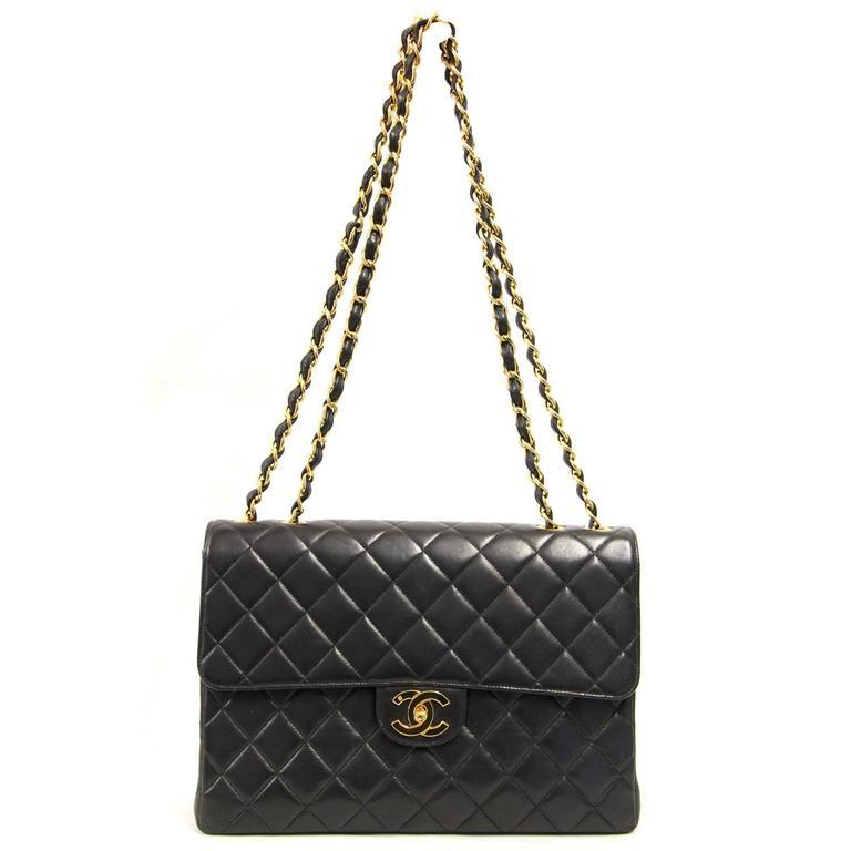 1990s Chanel Black Lamb Leather Jumbo Bag