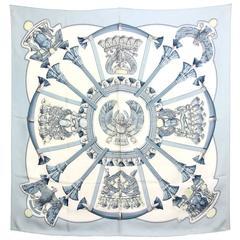 1970's Hermès Pale Blue and White Silk Scarf