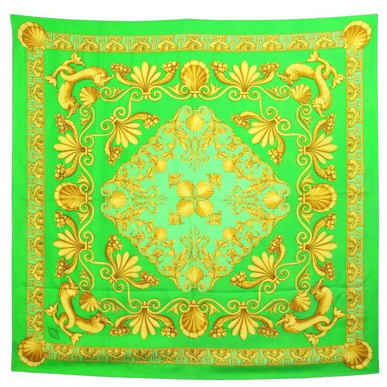 1990s Green and Gold Print Silk Foulard