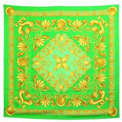 1990s Green and Gold Print Silk Foulard
