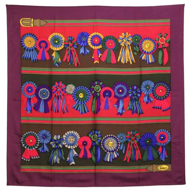 1990s Gucci Red Print Silk Foulard