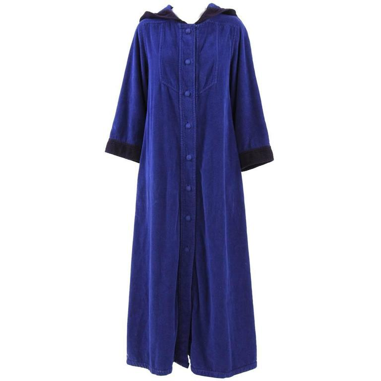 1980s Christian Dior Blue Overdyed Overcoat